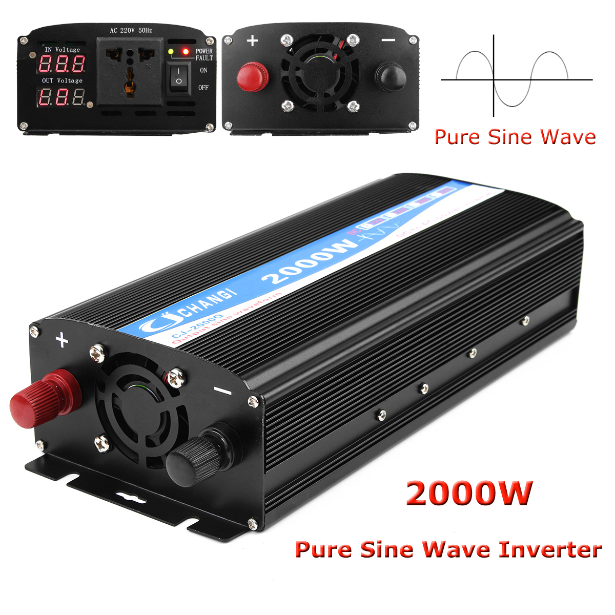 2000W Pure Sine Wave Inverter LED Power Invert 12V DC To 220V AC Power-bank