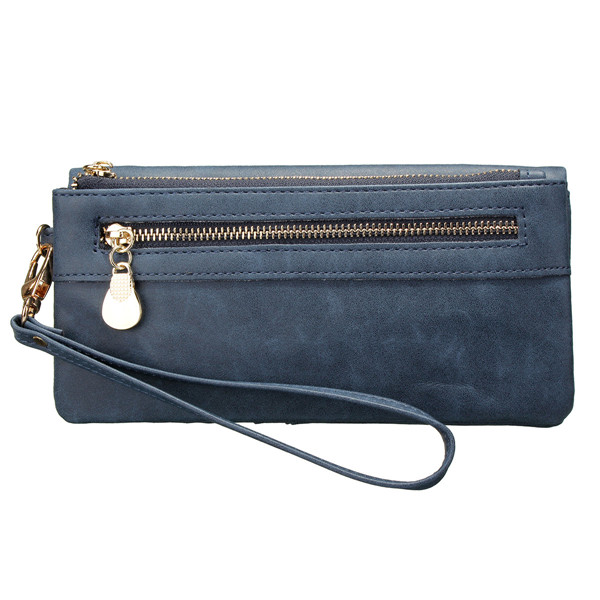Women Double Zipper Polish Leather Long Wallet