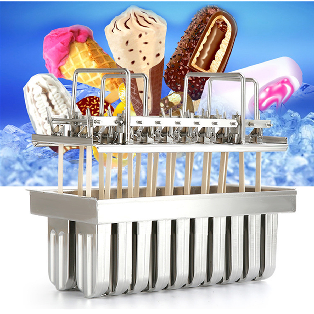 20Pcs Stainless Steel Molds Frozen Ice Cream Pop Popsicle Holder Maker +Sticks Mould