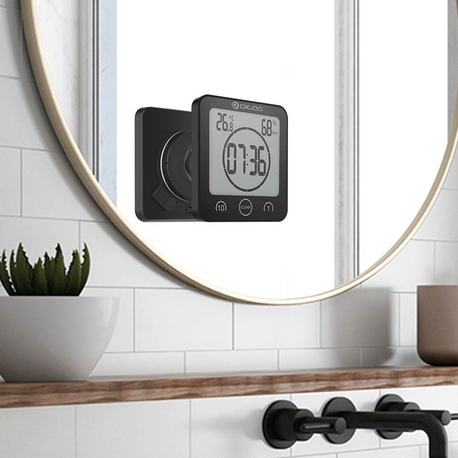 Digoo DG-BC10 Digital LCD Bathroom Wall Clock Waterproof Suction Cups Countdown Timer Indoor Humidity Thermometer Alarm Clock