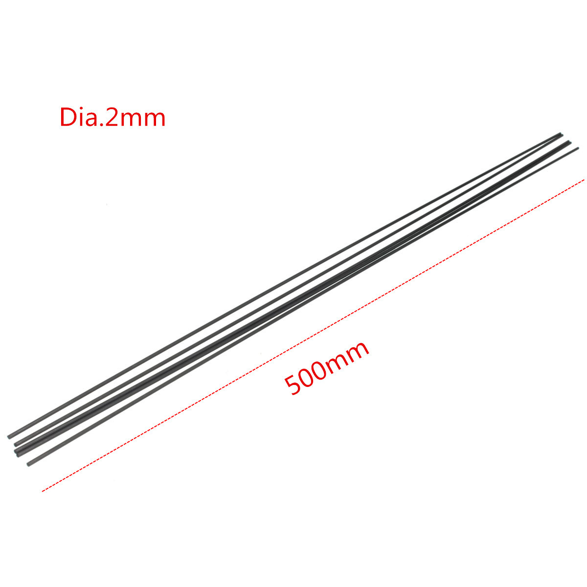 5pcs 2mm Diameter x 500mm Carbon Fiber Rods Tube For RC Airplane Matte Pole
