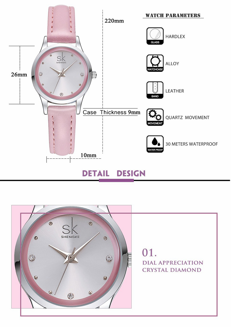 SK K0008 Elegant Women Watches Ladies Quartz Watch Thin Leather Strap Waterproof Dress Watches