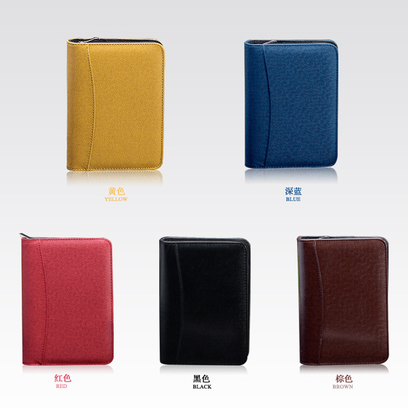 A5 New multi-function leather zipper notebook stationery business manager folder with a calculator