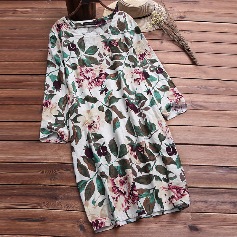 Women Cotton Shirt Floral Mini Dress