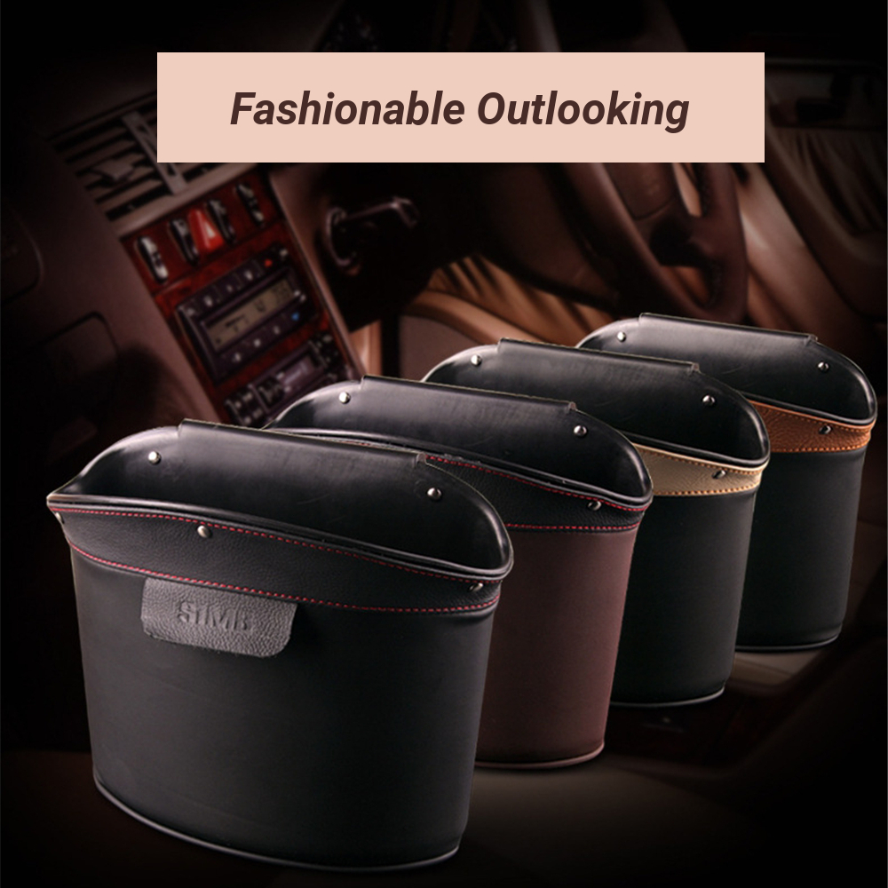 SIMB Genuine Leather Car Door Hanging Storage Bag Seat Back Organizer Trash Can Phone Holder