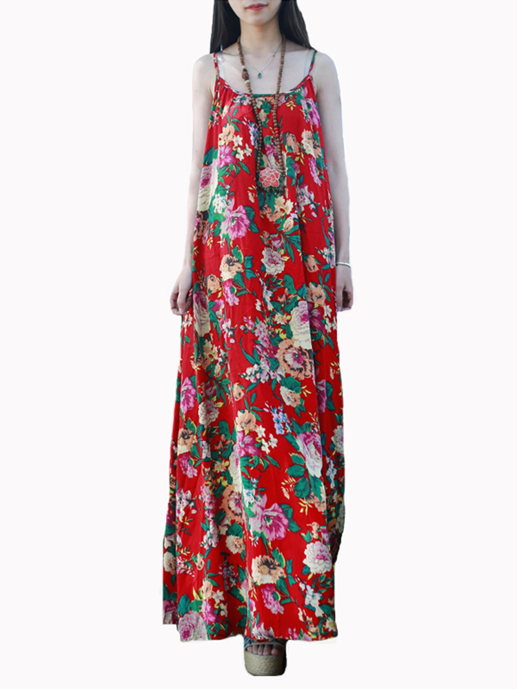Floral Print O-Neck Loose Cami Dress For Women