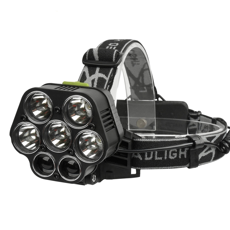 XANES 2507 1900LM 2×XPE+5×T6 7LED 6 Modes USB Charging 4 Colors Light Headlamp 18650 Battery