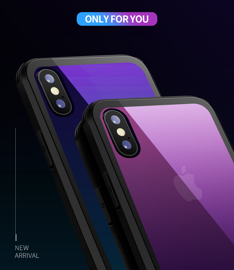 Bakeey Gradient Color Scratch Resistant Tempered Glass Protective Case For iPhone X/8/8 Plus/7/7 Plus/6s/6s Plus/6/6 Plus
