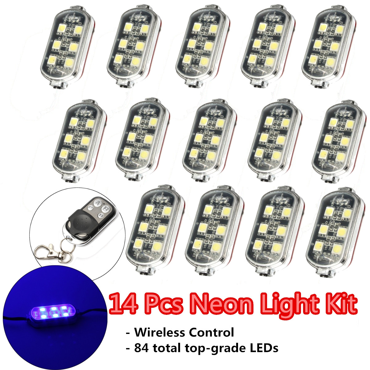 14 Pcs Blue Wireless Control Remote 84LED Neon Accent Lights Motorcycle Bike