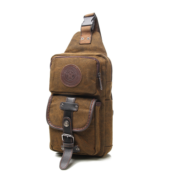 Men Retro Canvas Outdoor Sport Crossbody Bag Korean Style Vertical Shoulder Chest Bag
