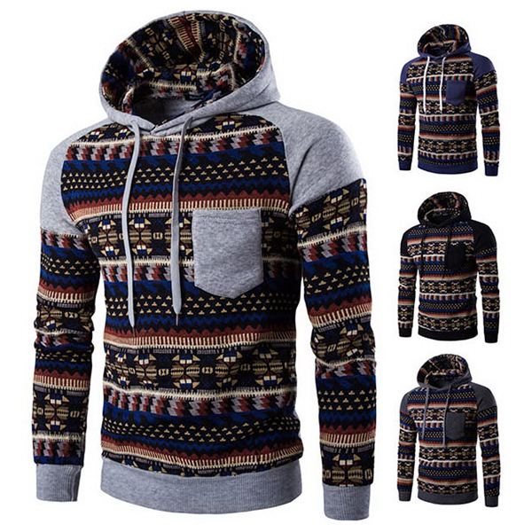 Mens Raglan Sleeve Folk Style Hoodie Fashion Casual Sport Hooded Tops 4 Colors