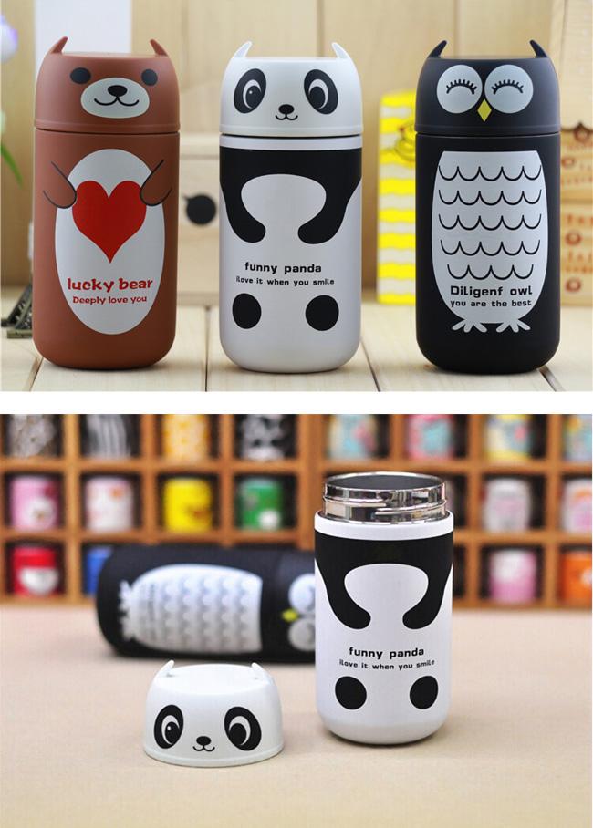 Cute Panda Owl Thermos 220ml Stainless Steel Vacuum Cup Travel Mug