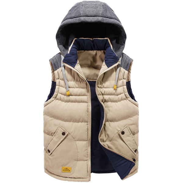 Mens Winter Vest Double Sided Wear Casual Hooded Fashion Contrast Color Sleeveless Coat