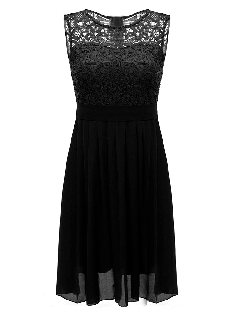 Solid Color Sleeveless Women Lace Chiffon Dresses