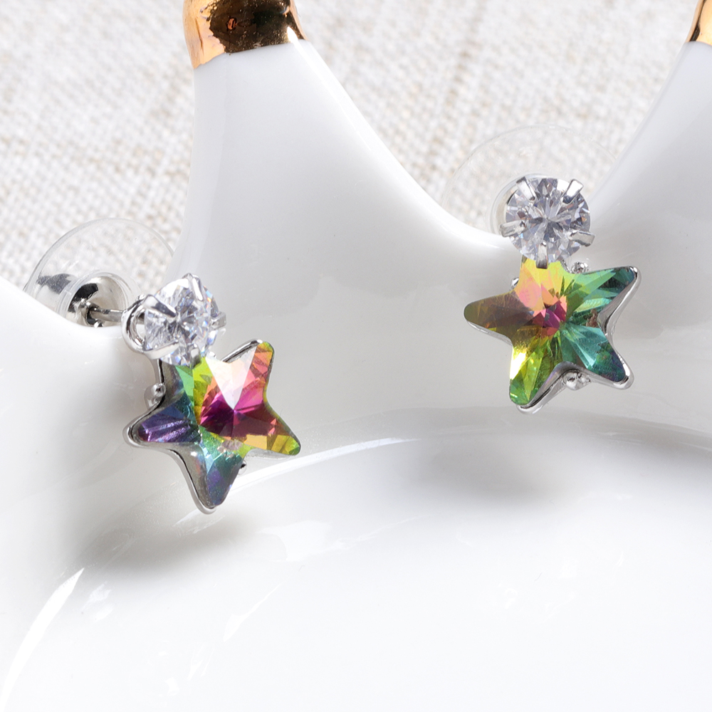 Simple Star Ear Stud Earring Dazzling Cubic Zirconia Star