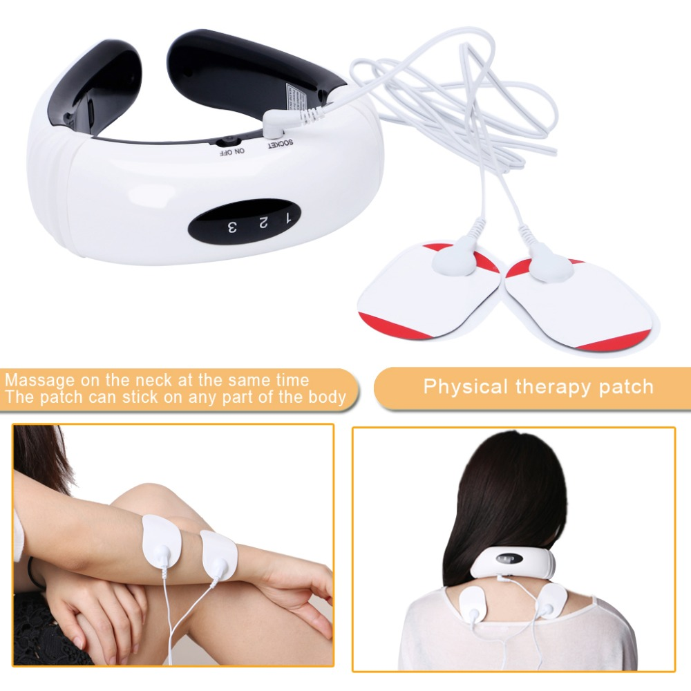 KCASA Electric Pulse Energy Cervical Vertebra Massage Tools Massager Device With Squishy Pads