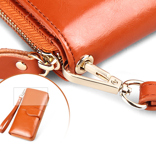 Women Leather Patchwork 10 Card Slots Wallet