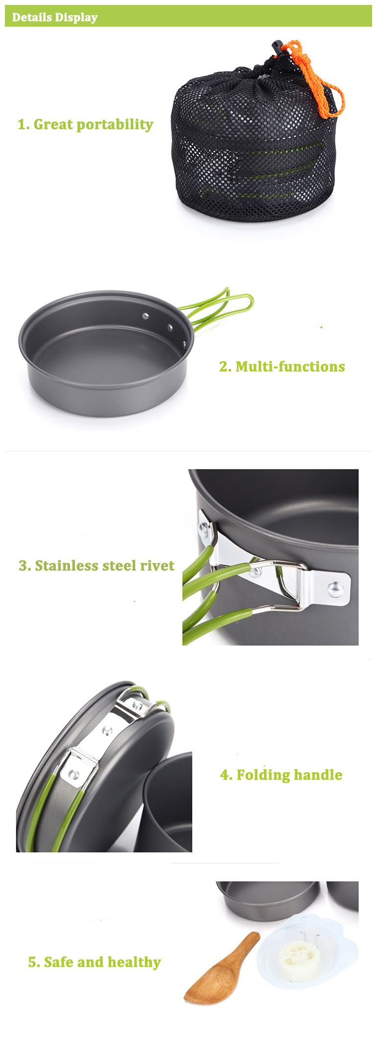 Outdoor Portable 2-3 Persons Cooking Pot Bowl Pan Set Camping Picnic Tableware Cookware