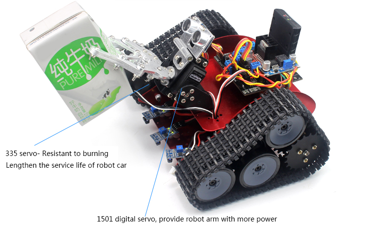 DIY Intelligent Transport Track Robot Car With APP Control Obstacle Avoidance