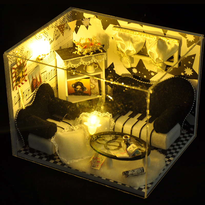 T-Yu TW17 Music Notes DIY Dollhouse With Light Cover Miniature Model Gift Collection Decor