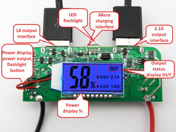 K6-PCBA 5V 2.1A 1A Dual USB 3V To 5V Boost Module Board For Power Bank 18650 Battery With LED Screen Display