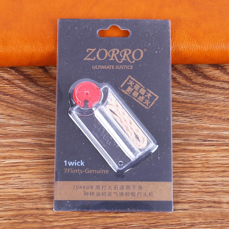 ZORRO Mini EDC Flintstone Cotton Wick Replacement Dispenser Lighter For Outdoor Oil Kerosene Lighter