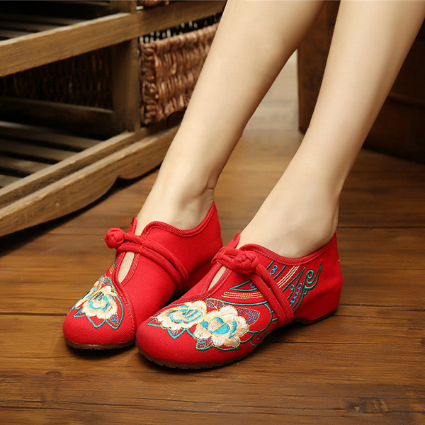 Women Lace Up Cloth Chinese Embroidered Flower Flat Loafers