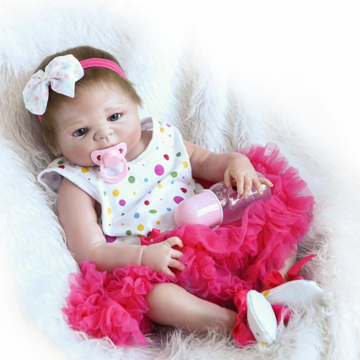 22inch Reborn Baby Doll Handmade Lifelike Newborn Girl Doll Play House Toys