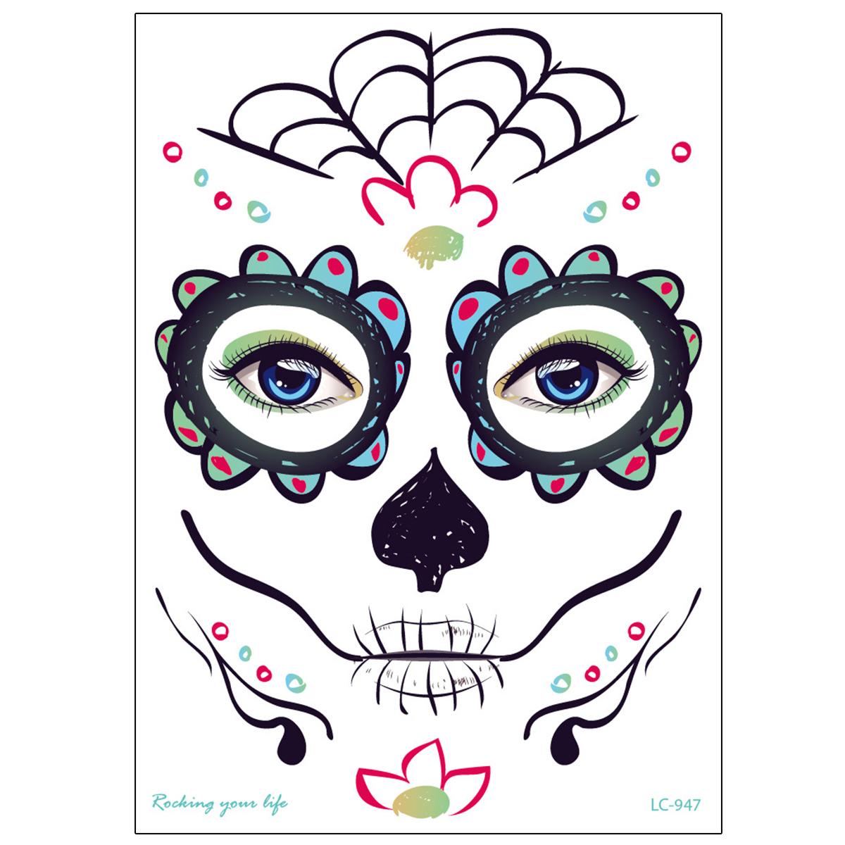Halloween Cosplay Waterproof Temporary Skull Face Tattoo Sticker Makeup Dress Art Prop