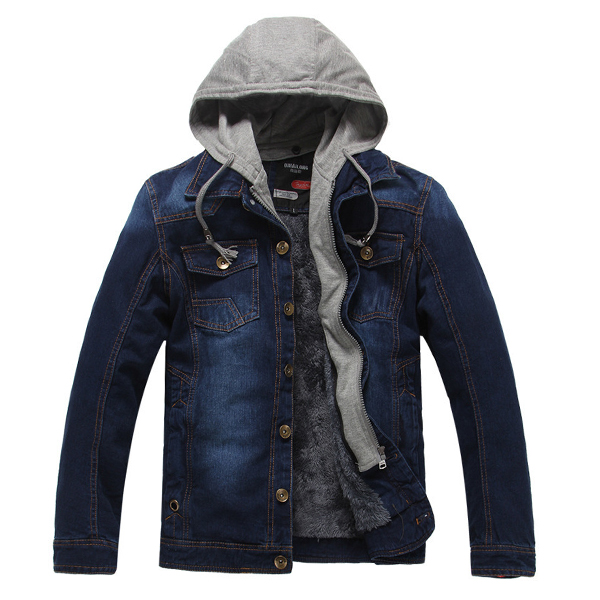 Fleece Thick Warm Detachable Hooded Casual Denim Jackets for Men