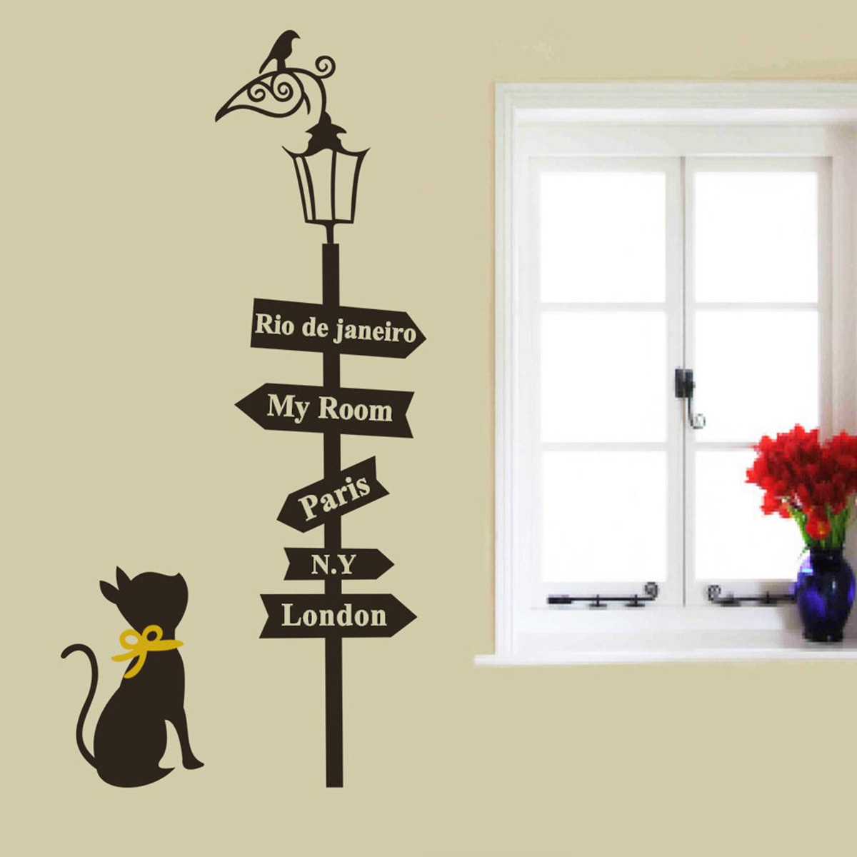 33Inch Removable Cat Street Light Wall Sticker Bedroom Mural Home Decoration