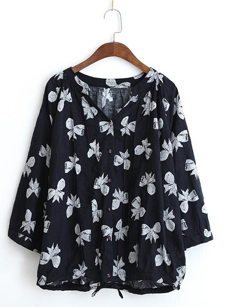 Women Butterfly Print V-neck Long Sleeves Blouse