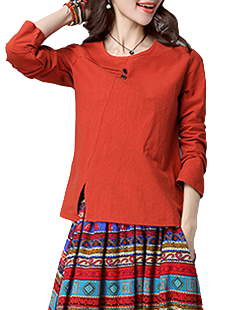 Casual Solid Color O-Neck Long Sleeve Cotton Women T-Shirt