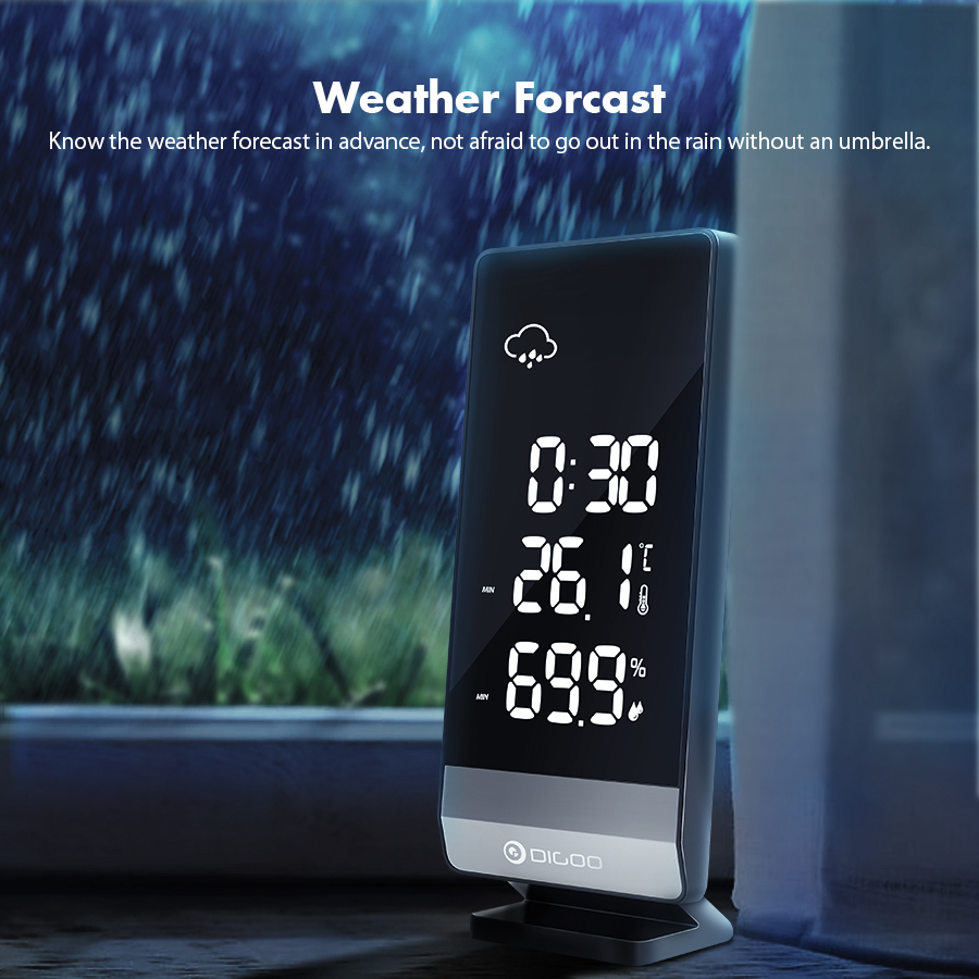 Digoo DG-TH11400 Weather Forecast 12/24 Hours Display  Indoor Outdoor Temperature Humidity Alarm Snooze Function Power Saving Clock