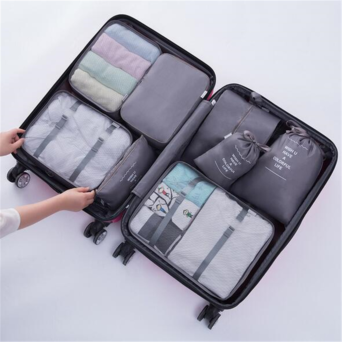 8PCS Travel Luggage Organizer Set Storage Pouches Suitcase Packing Bags