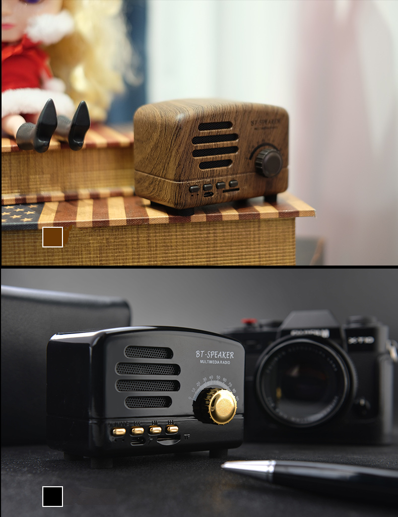 Bonks Q8 Mini Portable Wood Wireless bluetooth Speaker Vintage FM Radio TF Card Heavy Bass Speaker