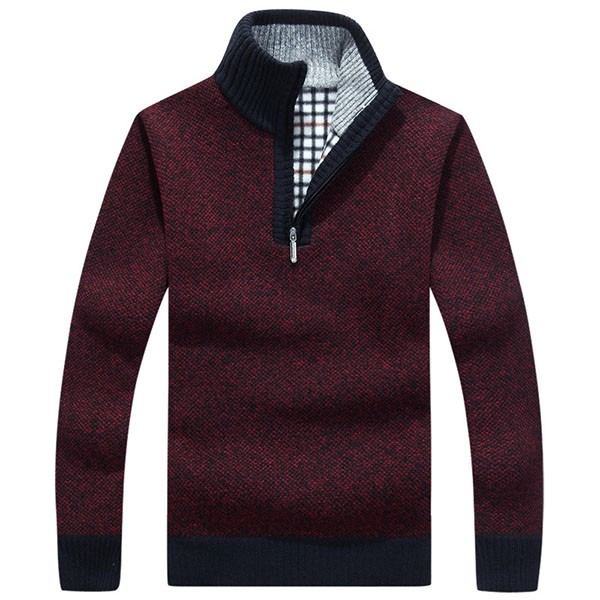 Mens Zipper Stand Collar Sweater Thicken Spell Color Warm Slim Fit Pullover Knitwear