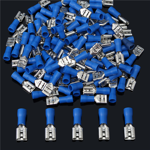 16-14AWG Insulating Female Spade Terminal Electrical Crimp Wire Connectors Blue