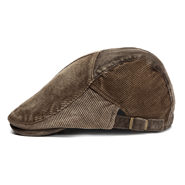 Mens Vintage Corduroy Berets Caps Outdoor Casual Visor Adjustable Forward Hats