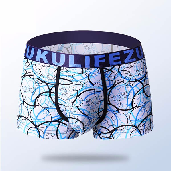 ZK Mens Ice Silk Super Soft Antibacterial Breathable U Convex Underwear Boxers