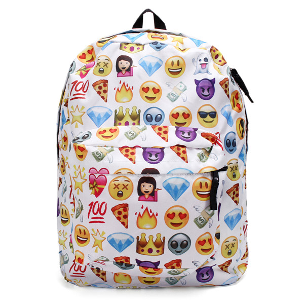 Women Canvas Emoji Backpack Girls Cute Rucksack Students School Book Bags