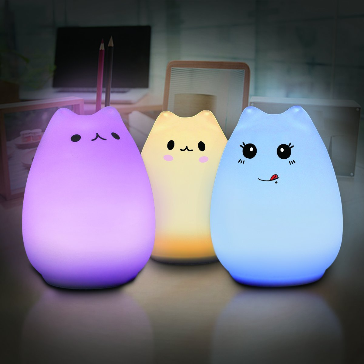 Elfeland Multi-color Cat Lamp with Remote- Children Cute Kitty Cartoon Animal LED Portable Silicone Night Light - 12 Single Colors & 7-Color Breathing Modes - USB Rechargeable- Timing Function