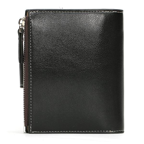BAELLERRY Men PU Multifunction Hasp Zipper Wallet Business Short Folding Purse