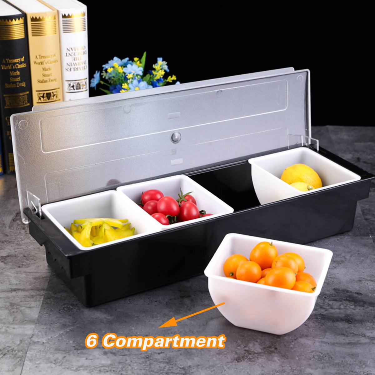 6 Compartment Divided Fruit Food Storage Case Box Kitchen Storage Container Garnish Crisper