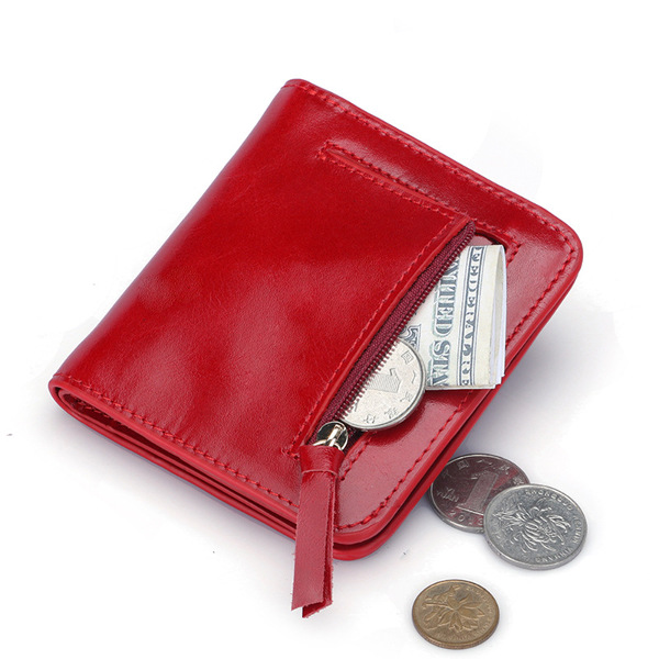 Women Men Genuine Leather RFID Card Holder Oil Wax Hasp Short Wallets Purse Coin Bags
