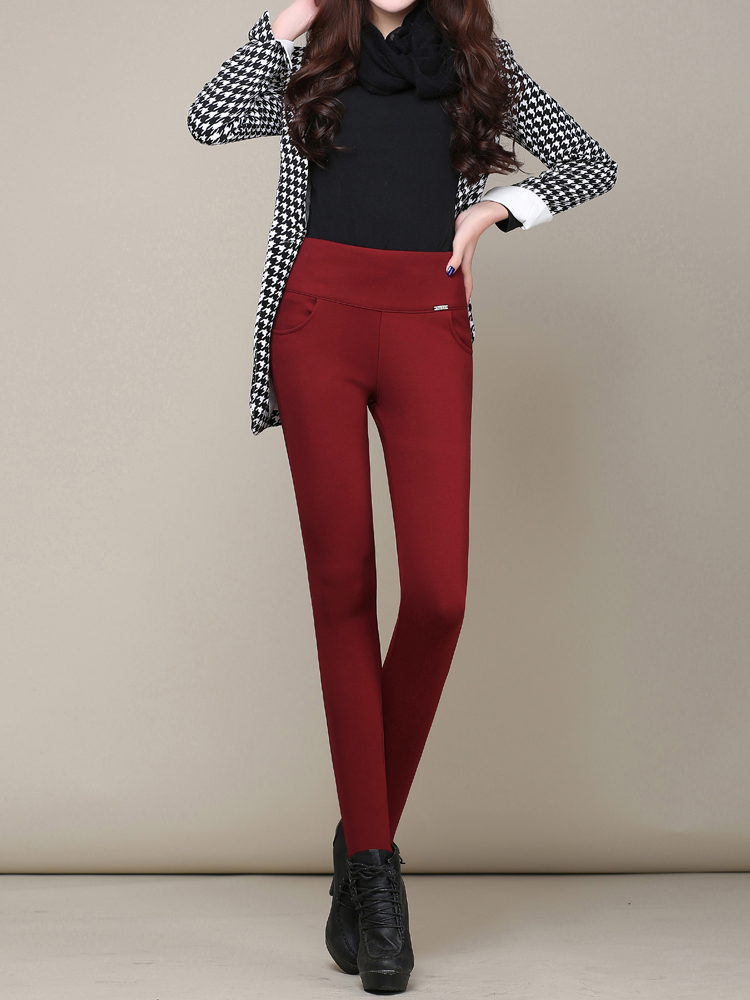 Casual Solid High Waist Thick Velvet Slim Women Pants