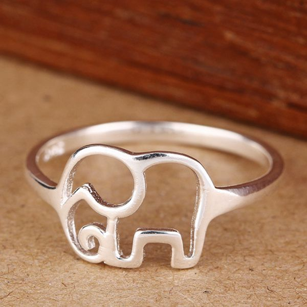 Cute 925 Sterling Silver Elephant Finger Ring Women Jewelry
