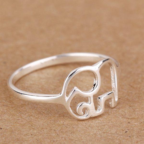 Cute 925 Sterling Silver Elephant Finger Ring Women Jewelry