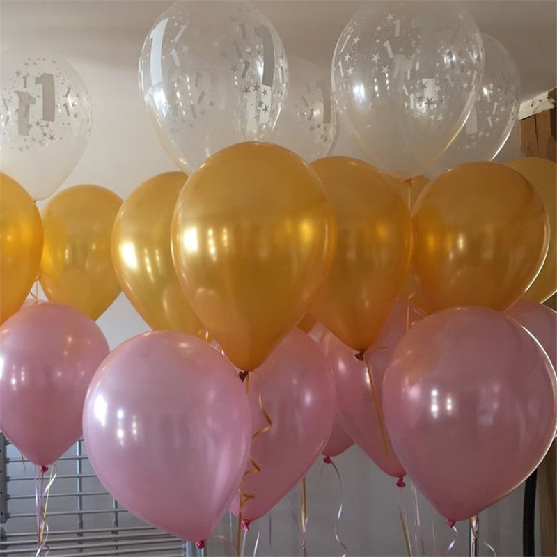 40Pcs Per Set Pink And Metallic Gold Balloons Helium Quality Party Decoration