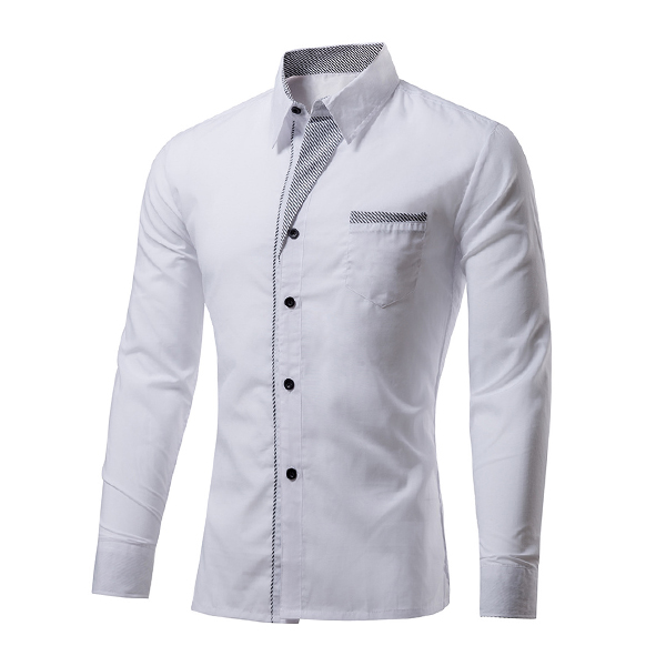 Mens Fashion Casual Stitching Color Slim Fit Designer Shirts